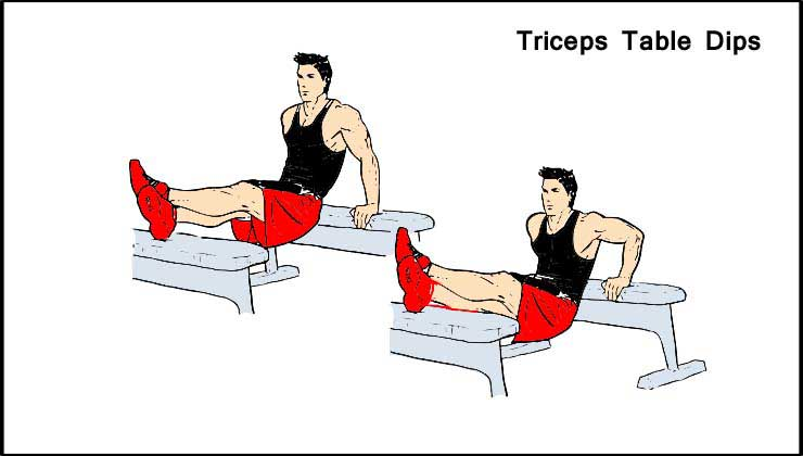 Triceps Workout in Hindi Table Dips